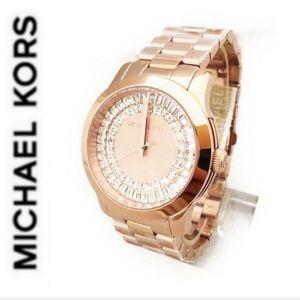 NWT MK dazzling rose gold tone baguette watch